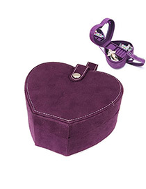 Preppy Purple Heart Shape Design Cotton Jewelry box
