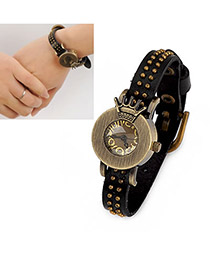 Mobile Black Crown PU Fashion Watches