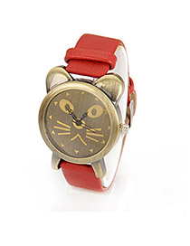 Gored Red Vintage Lovely Cat Design Pu Leather Fashion Watches