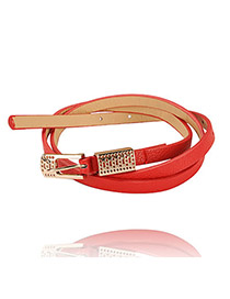 Mechanical Red Hollow Out Pendant Candy Color PU Thin belts