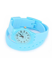 Wool Blue Candy Color Double Layer Watchband Alloy Fashion Watches