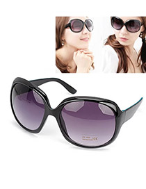 Liquid With Black Frame Fashion Big Frame Design Plastic Women Sunglasses