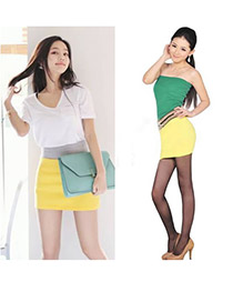 Sullen Yellow Fit Silm A Shape Mini Skirt Cotton Dress-Skirt