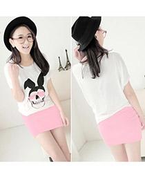 Polaris Pink Fit Silm A Shape Mini Skirt Cotton Dress-Skirt
