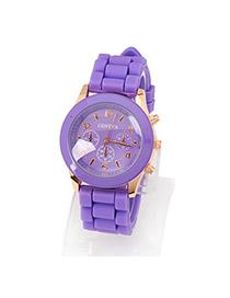 Metallic Purple Jelly Fluorescence Color Alloy Fashion Watches