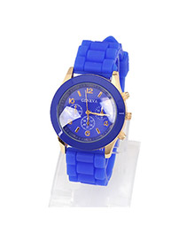 Puppy Dark Blue Jelly Fluorescence Color Alloy Fashion Watches