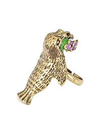 Authentic Gold Color Retro Seal Alloy Korean Rings