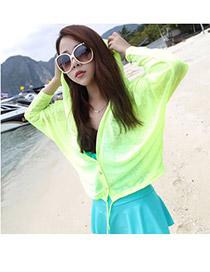 Discount Green Uv Protection Ultrathin Cardigan Fibre Coat-Jacket