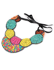 Cardboard Multicolour Handmand Bead Fake Collar Beads Bib Necklaces