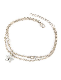 Spiritual Silver Color Five Leaf Flower Double Layer Design Alloy Fashion Anklets