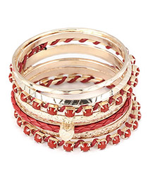 Expired Red Heart Pendant Multilayer Alloy Fashion Bangles