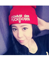 Electronic Red Embroidery Comme Des Fuckdown Design Knitting Wool Fashion Hats