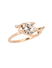 22K Gold Color Heart Shape Fished Alloy Fashion Rings