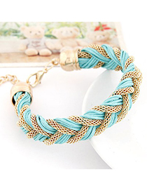 Inspiratio Light Blue Metal And Rope Weave Design Alloy Korean Fashion Bracelet