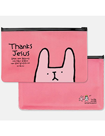 Lightning Color Will Be Random Rabbit Pattern Design Pvc Pencil Case Paper Bags