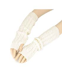 Bulk White Mitten Braided Long Fingerless Knitting Wool Fashion Gloves
