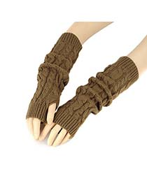 Tie Coffee Mitten Braided Long Fingerless Knitting Wool Fashion Gloves