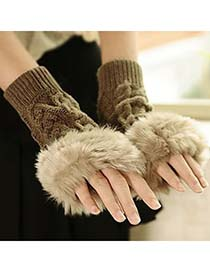 Mysterious Khaki Fingerless Plaid Kint Style Knitting Wool Fashion Gloves