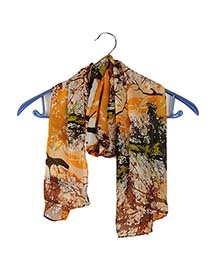 Sullen Orange Tree Pattern Design Chiffon Fashion Scarves