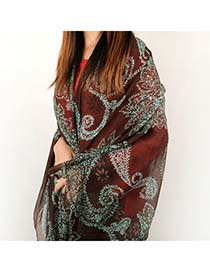 Recycled Coffee Leaves Pattern Voile Shawl Hemp Cotton Fashion Scarves