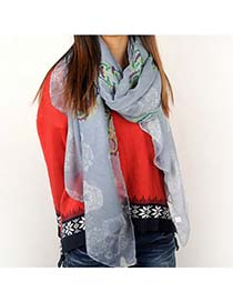 Nice Blue Skull Pattern Voile Shawl