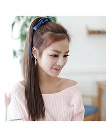 Costume Dark Brown Long Straight Bind Ponytail High-Temp Fiber Wigs
