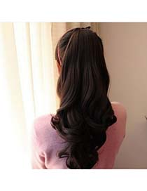Imitation Nature Black Slightly Curled Ponytail High-Temp Fiber Wigs