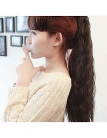 Korean Nature Black Firework Perm Design Ponytail High-Temp Fiber Wigs
