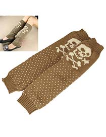 Homemade Khaki Cartoon Skull Design Knitting Wool Fashion Gloves