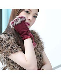 Stainless Claret-Red Thicken Warth Fingerless Knitting Wool Fingerless Gloves