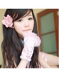 Homecoming Pink Thicken Warth Fingerless Knitting Wool Fingerless Gloves