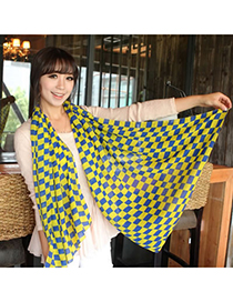 Kennedy Yellow Square Lattice Pattern Chiffon Fashion Scarves