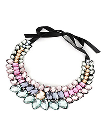 Indie Multicolor Geometry Drop Shape Alloy Bib Necklaces