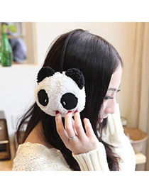 Adjustable Black And White Warmth Panda Design Plush Fashion earmuffs