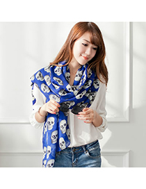 Engraved Blue Personality Skull Design Chiffon Fashion Scarves