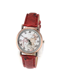 Quality Red Vintage Map Pu Design