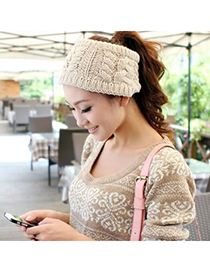 Maxi Beige Big Braided Design Knitting Wool Hair band hair hoop