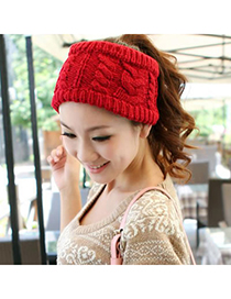 Fall Claret-Red Big Braided Design Knitting Wool Hair band hair hoop