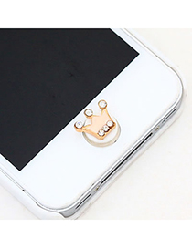 Synthetic Pink Crown Iphone Home Design Alloy Anti-Dust Plug