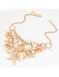 Pewter Gold Color Sea Star Pearl Design Alloy Bib Necklaces
