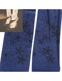 Scrapbooki Dark Blue Stars Pattern Yarn Fashion Stockings