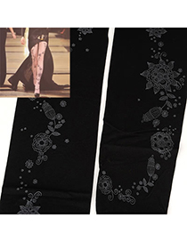 Beaded Black Flower Tattoo Pattern Yarn Fashion Stockings