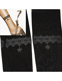 Chic Black Crown Tattoo Pattern Yarn Fashion Stockings