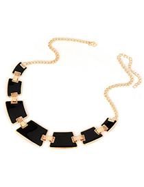 Faux Black Geometry Matching Alloy Bib Necklaces
