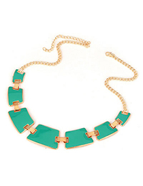 University Green Geometry Matching Alloy Korean Necklaces