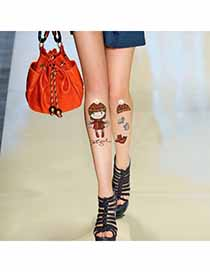 Womens Skin Color Beautiful Girl Design Velvet Fashion Stockings
