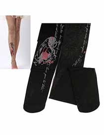 Skate Black Beautiful Girl Design Velvet Fashion Stockings