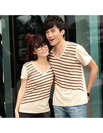 18K Khaki V-Neck Stripe Pattern Cotton Lover Suit