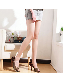 Magnifying Brown Ruffles Decorated Design Pu Leather Pumps