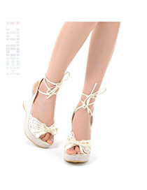 Polaris White Lace Bowknot Design Pu Lather Sandals